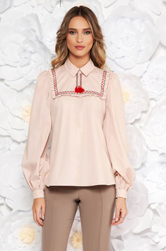 LaDonna rosa women`s blouse casual flared nonelastic cotton with tassels