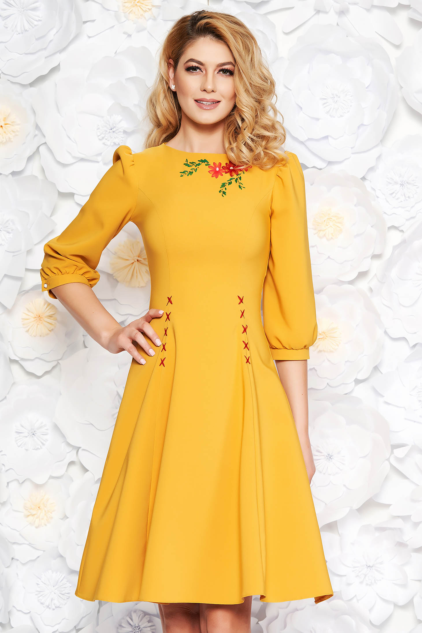 LaDonna mustard elegant cloche dress slightly elastic fabric embroidered with 3/4 sleeves