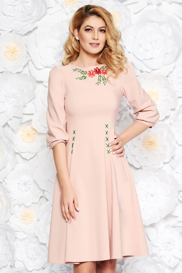 LaDonna lightpink elegant cloche dress slightly elastic fabric embroidered with 3/4 sleeves
