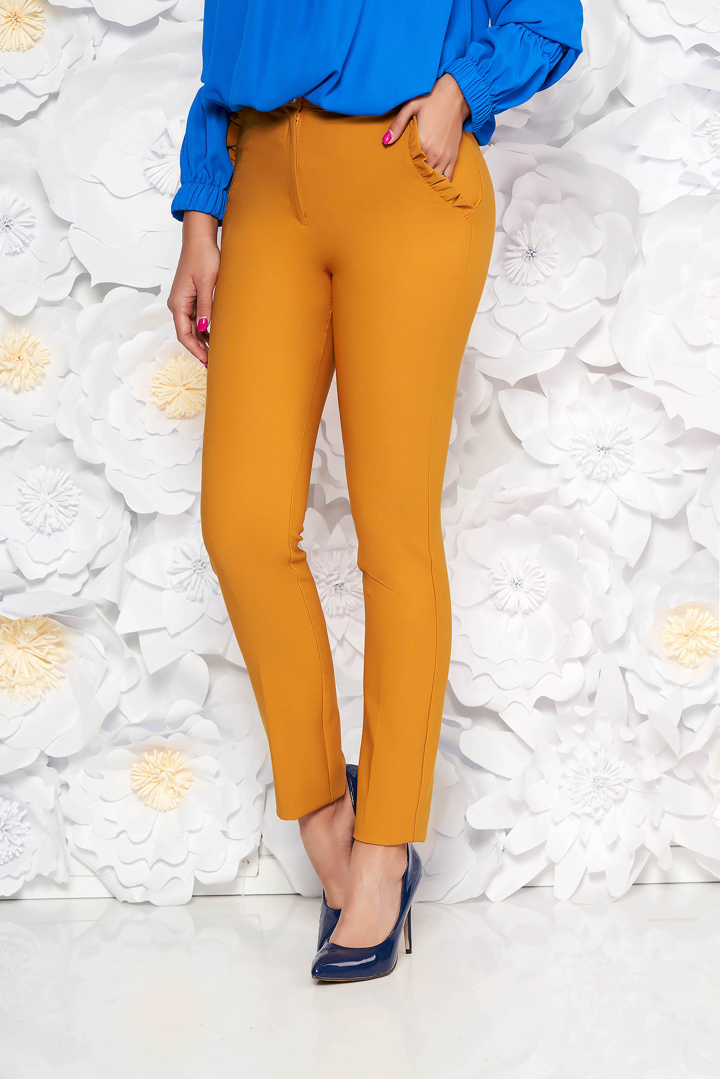 PrettyGirl mustard elegant high waisted trousers slightly elastic fabric with ruffle details