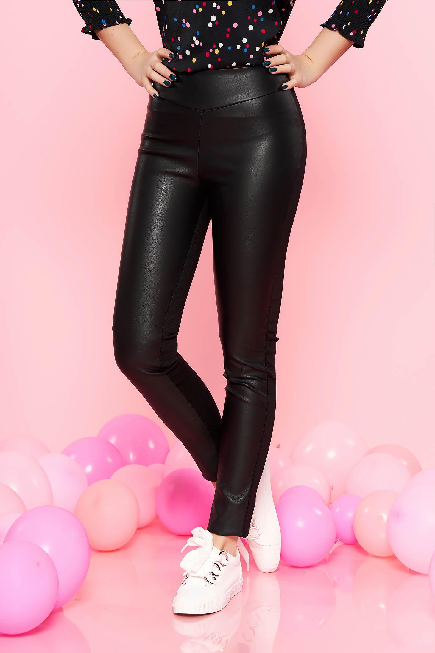 f92a6ff84e Fekete PrettyGirl casual magas derekú nadrág műbőr és pamutból derékban  rugalmas
