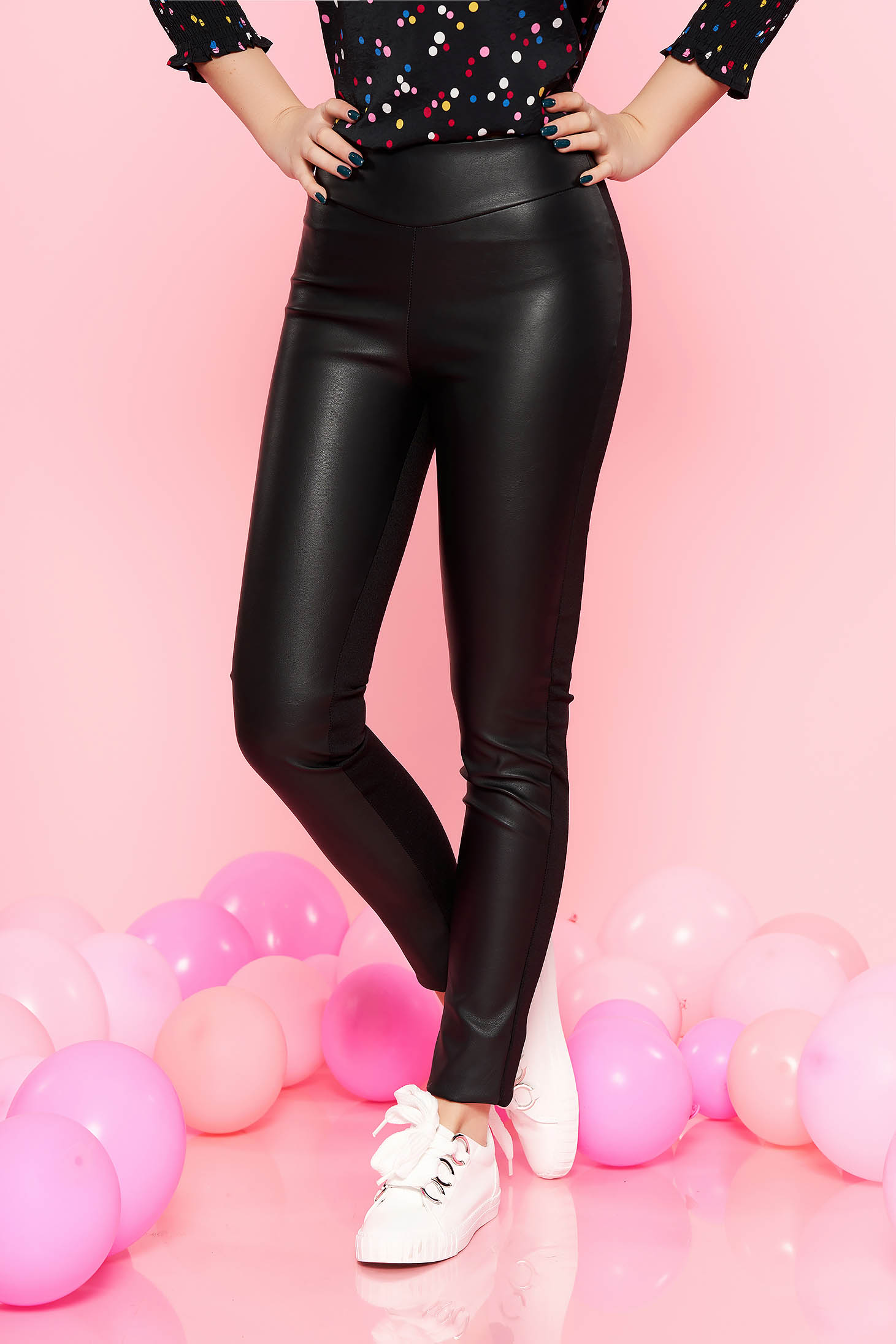 Pantaloni PrettyGirl negri casual cu talie inalta din piele ecologica si bumbac cu elastic in talie