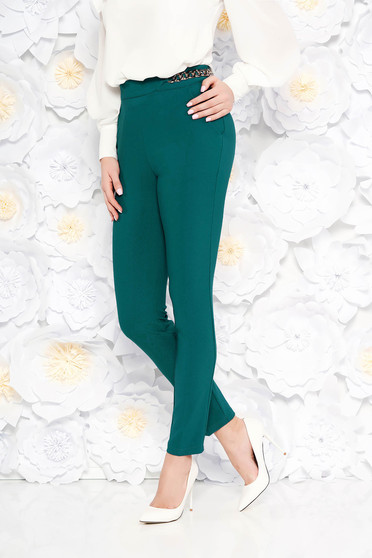 PrettyGirl darkgreen elegant conical trousers high waisted slightly elastic fabric metallic chain accessory