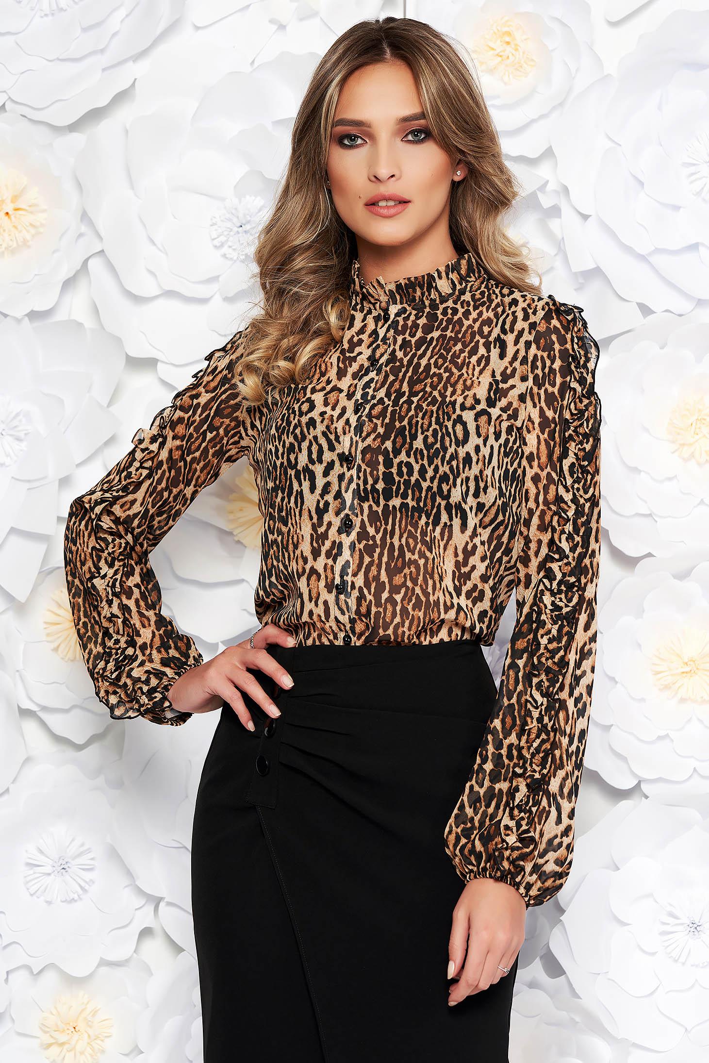 PrettyGirl brown elegant flared women`s shirt thin fabric with ruffled sleeves