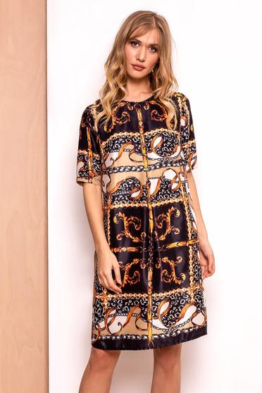 PrettyGirl black dress daily midi slightly elastic fabric with 3/4 sleeves flared
