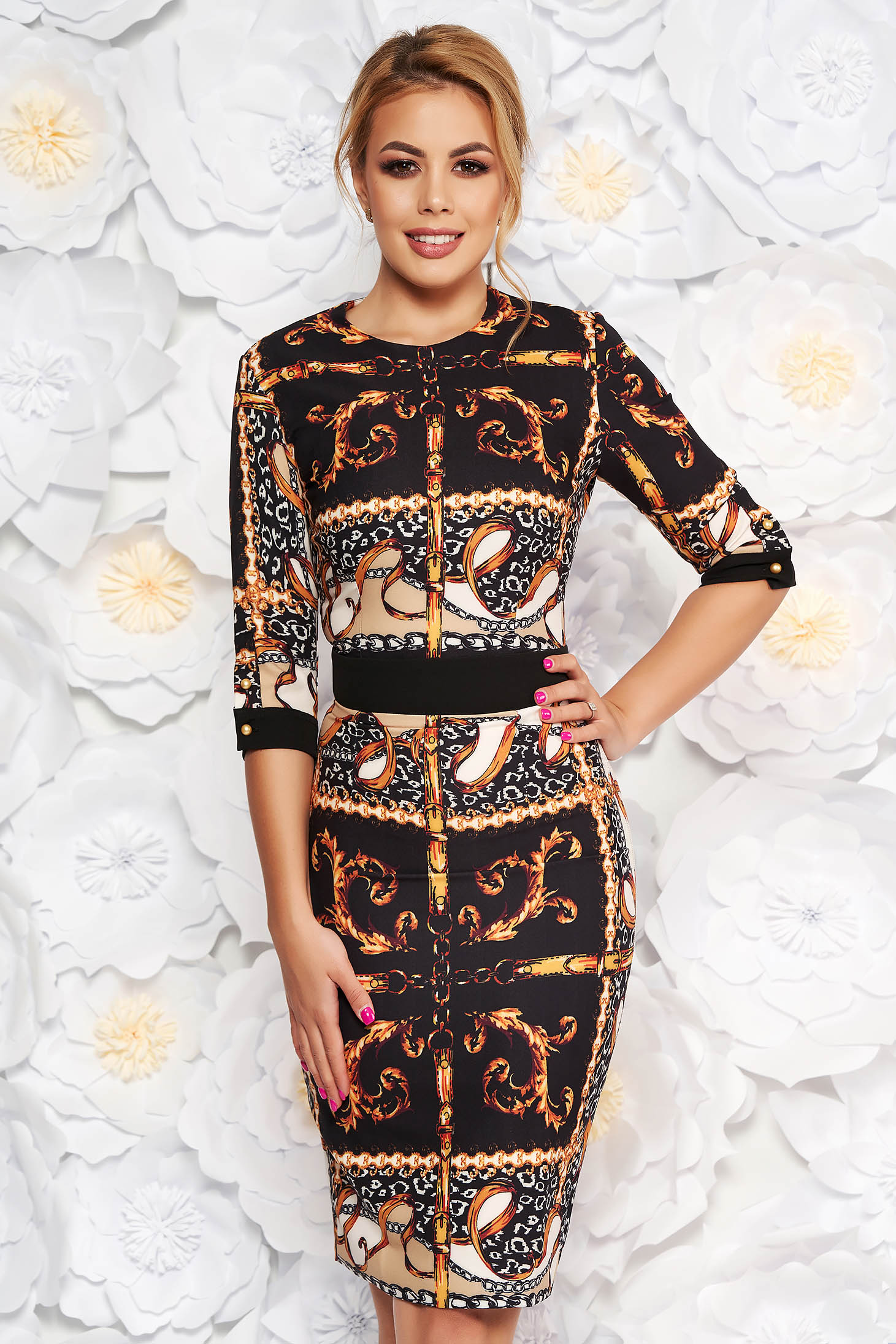 PrettyGirl black daily midi pencil dress slightly elastic fabric with 3/4 sleeves