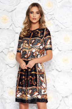 PrettyGirl black daily flared dress from satin fabric texture short sleeves