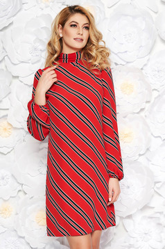 PrettyGirl red daily flared dress thin fabric with inside lining elastic held sleeves