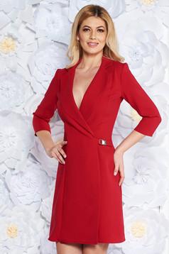 Artista red blazer type a-line elegant dress slightly elastic fabric with inside lining