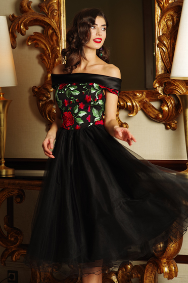Artista black occasional cloche dress off shoulder from tulle embroidered with inside lining