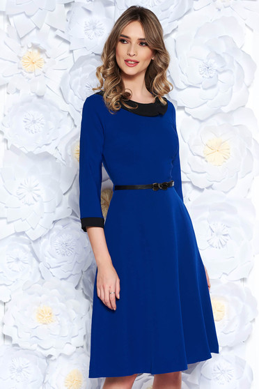 Blue elegant cloche dress slightly elastic fabric accessorized with belt