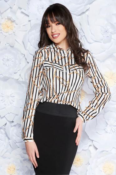 White women`s shirt elegant flared airy fabric long sleeved