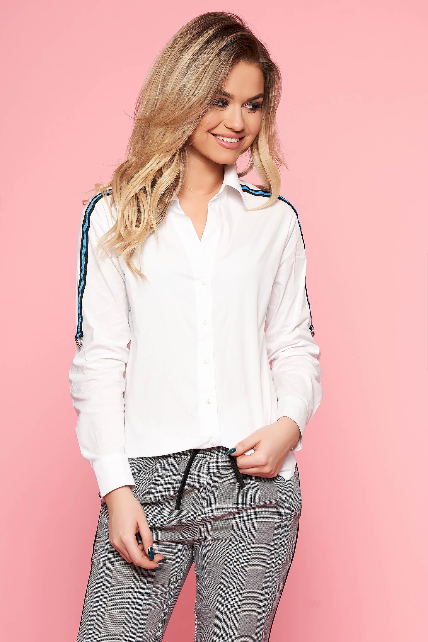 Fehér casual női ing enyhén elasztikus pamut hosszú ujjakkal bő szabással