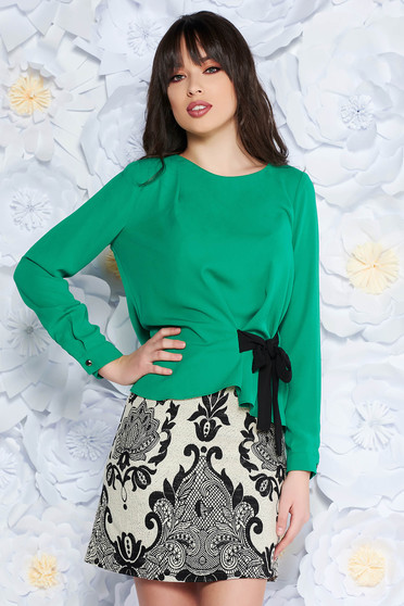 Green women`s blouse elegant flared airy fabric long sleeved