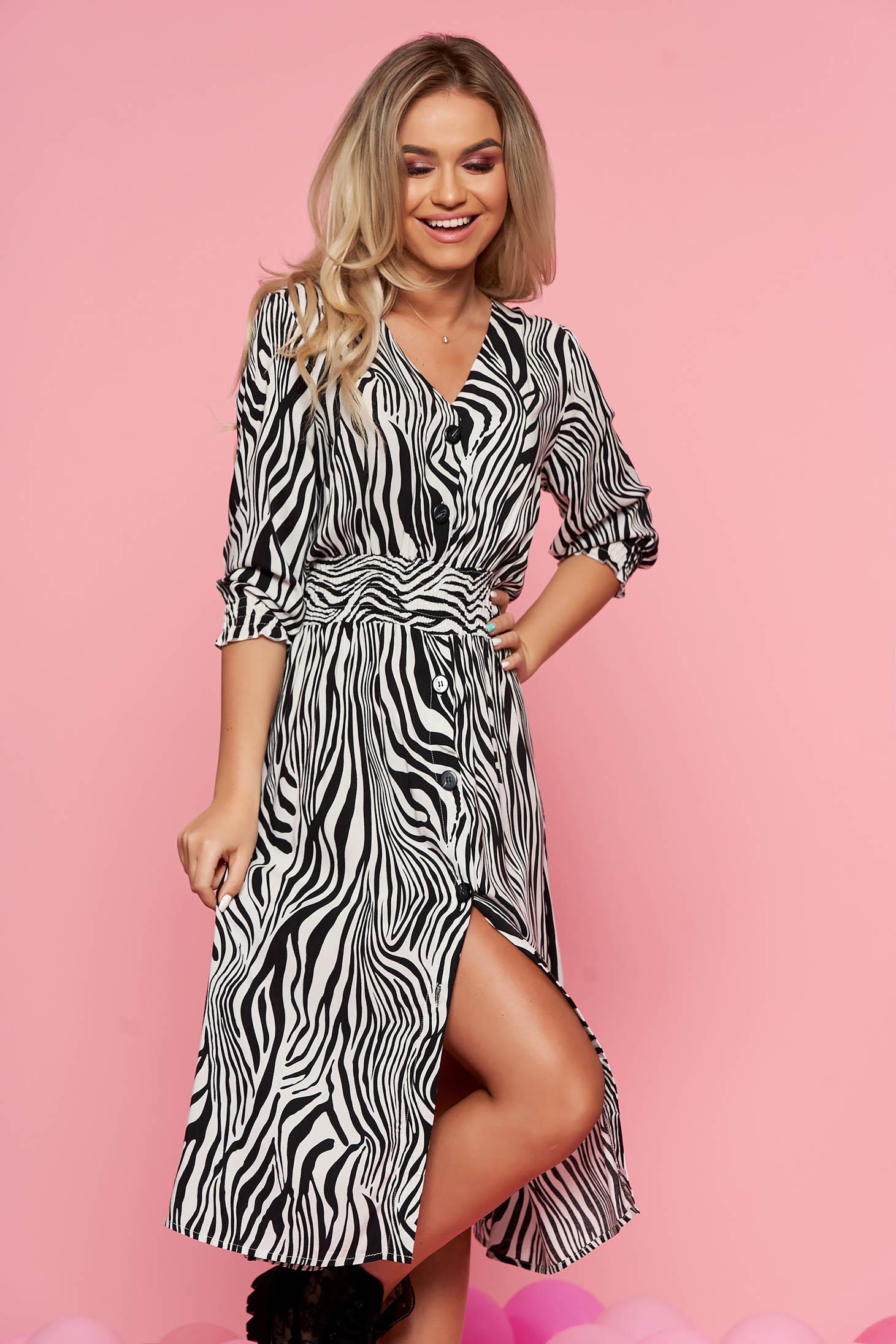Top Secret black daily midi cloche dress airy fabric with v-neckline