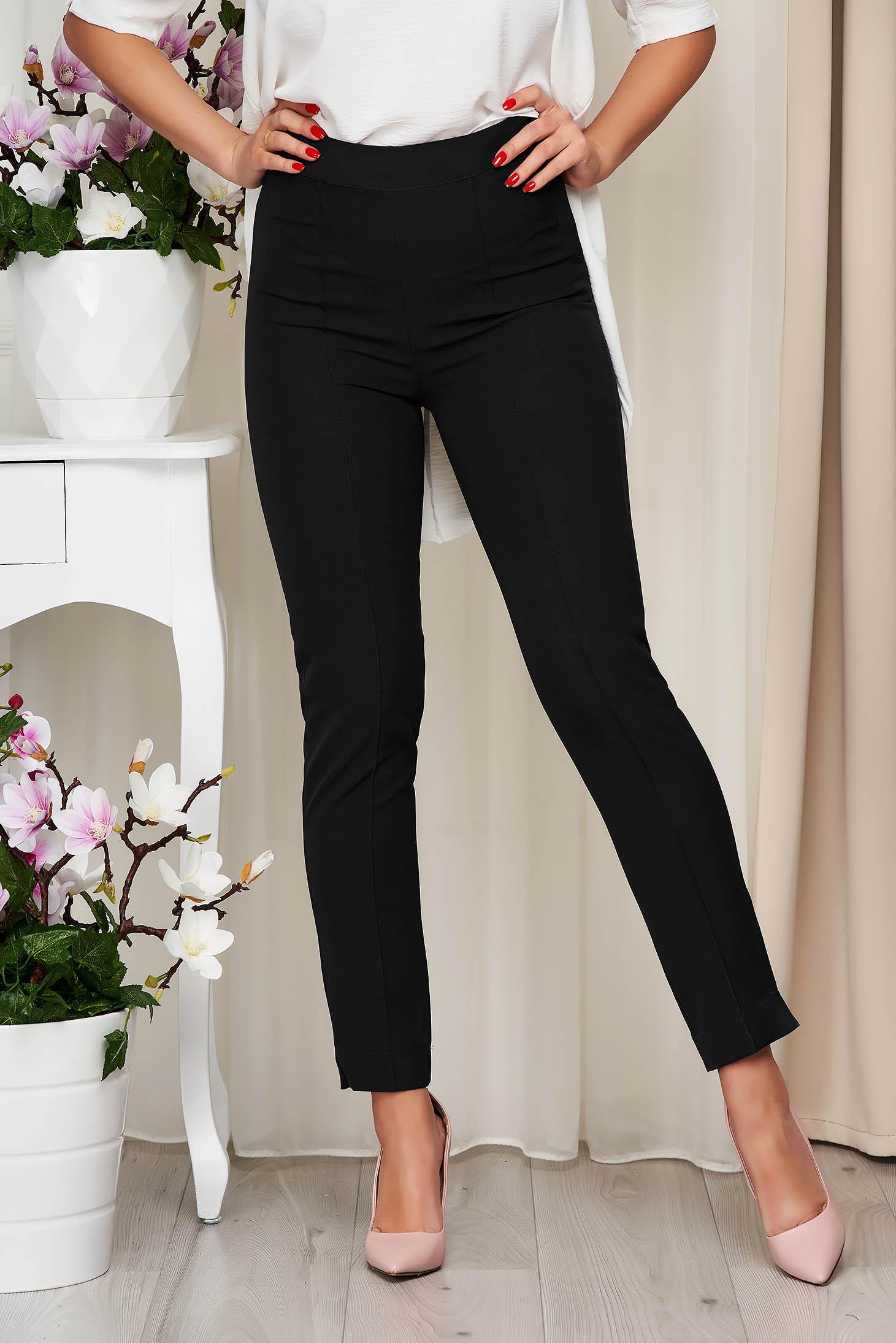 Pantaloni StarShinerS negri office conici din material usor elastic cu talie inalta