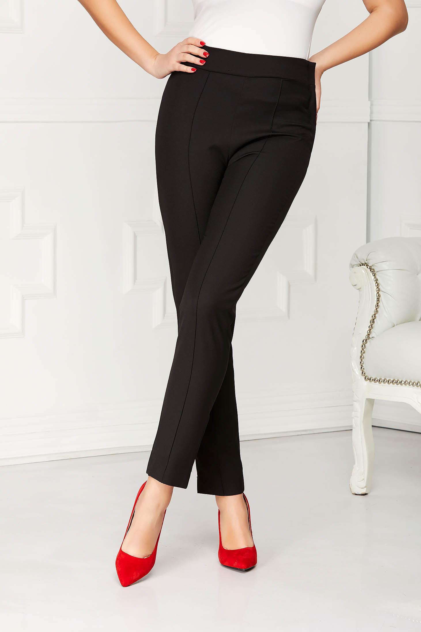Pantaloni StarShinerS negri office conici din stofa elastica cu talie inalta si buzunare