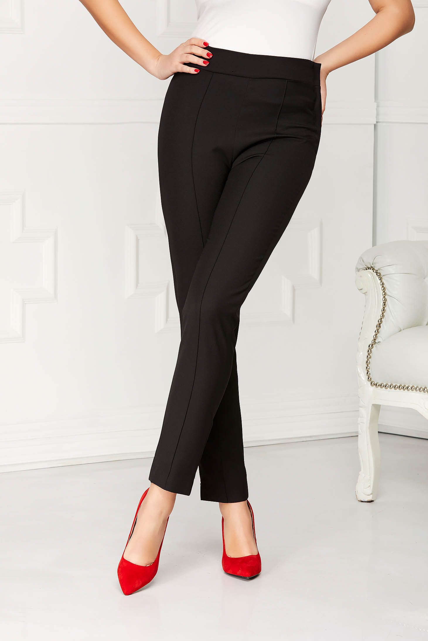 StarShinerS black elegant office trousers high waisted slightly elastic fabric with pockets