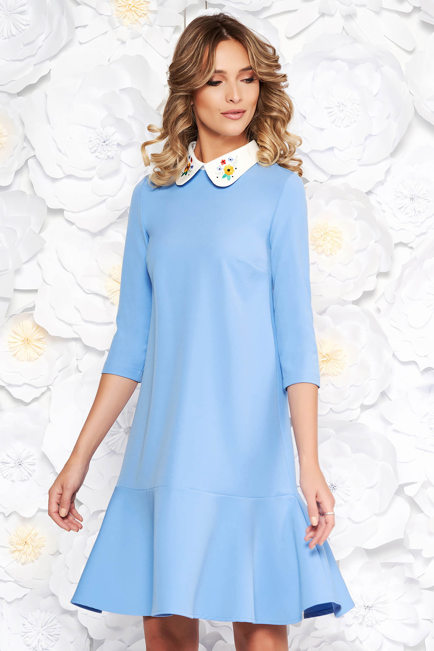 StarShinerS blue elegant flared dress slightly elastic fabric with round collar embroidered