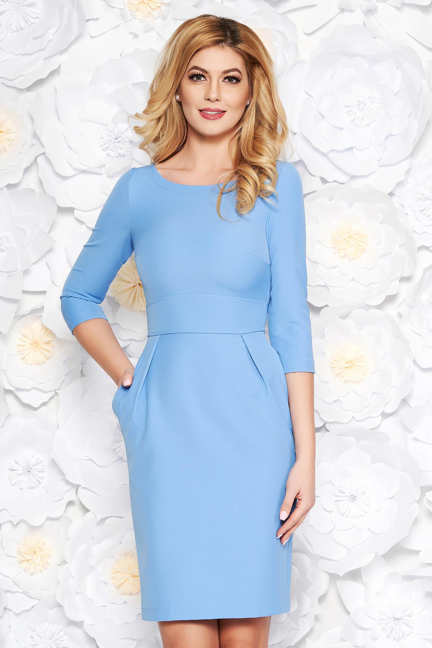 Kék StarShinerS irodai ruha enyhén elasztikus szövet zsebekkel