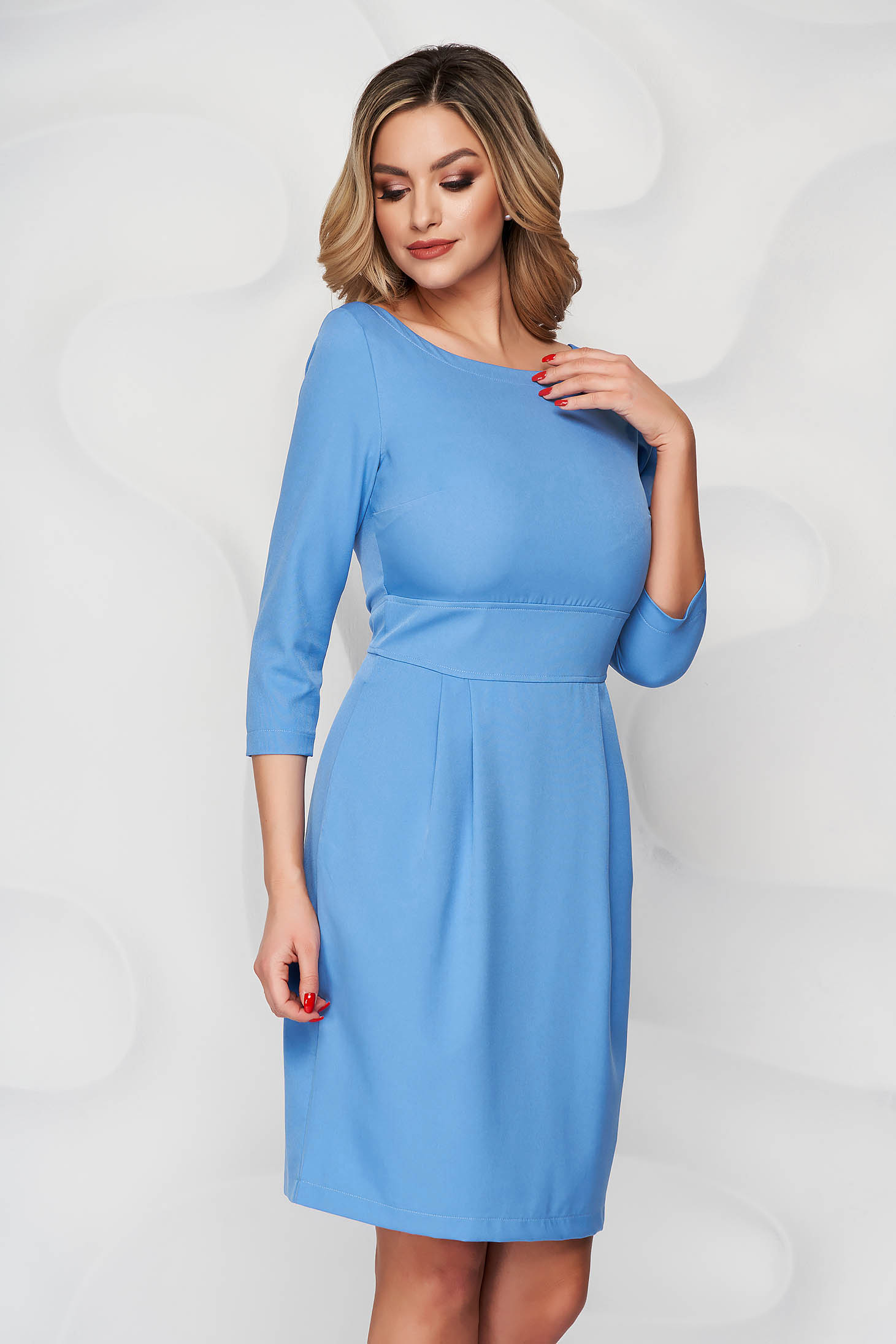 Rochie StarShinerS albastra scurta din stofa usor elastica cu croi in a si buzunare