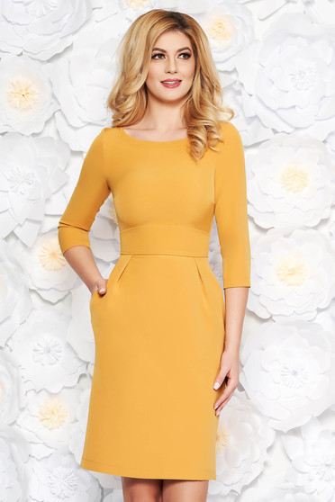 StarShinerS mustard office midi pencil dress slightly elastic fabric with pockets