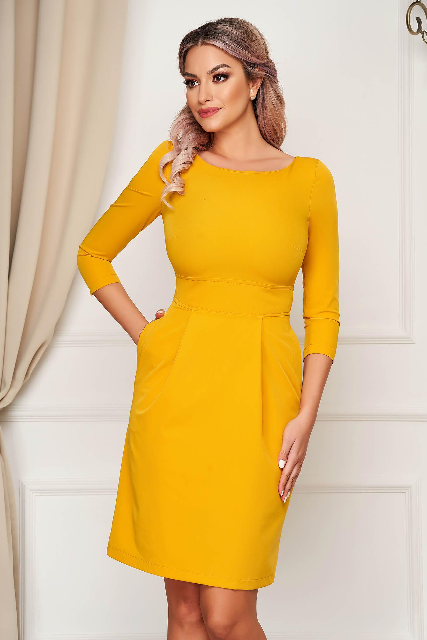 Mustársárga StarShinerS a-vonalú rövid zsebes ruha enyhén rugalmas szövetből