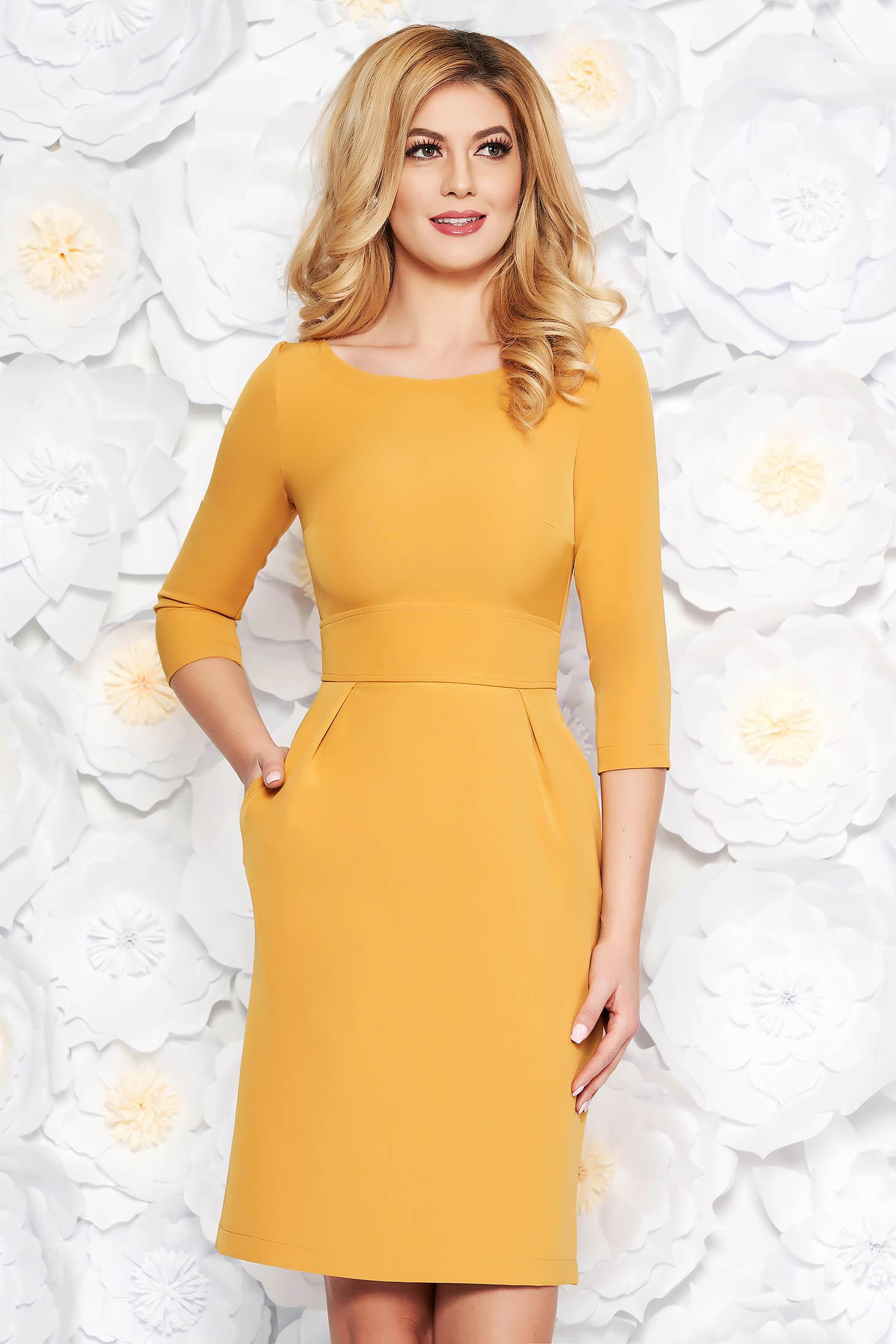 StarShinerS mustard office midi pencil dress slightly elastic fabric with pockets
