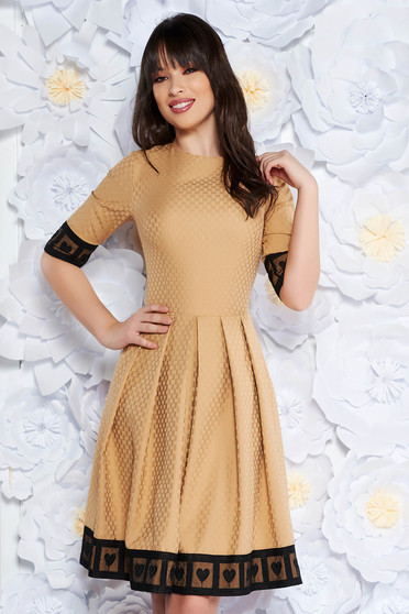 Artista cream occasional midi cloche dress slightly elastic fabric with lace details