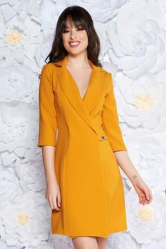 Artista mustard blazer type a-line elegant dress slightly elastic fabric with inside lining