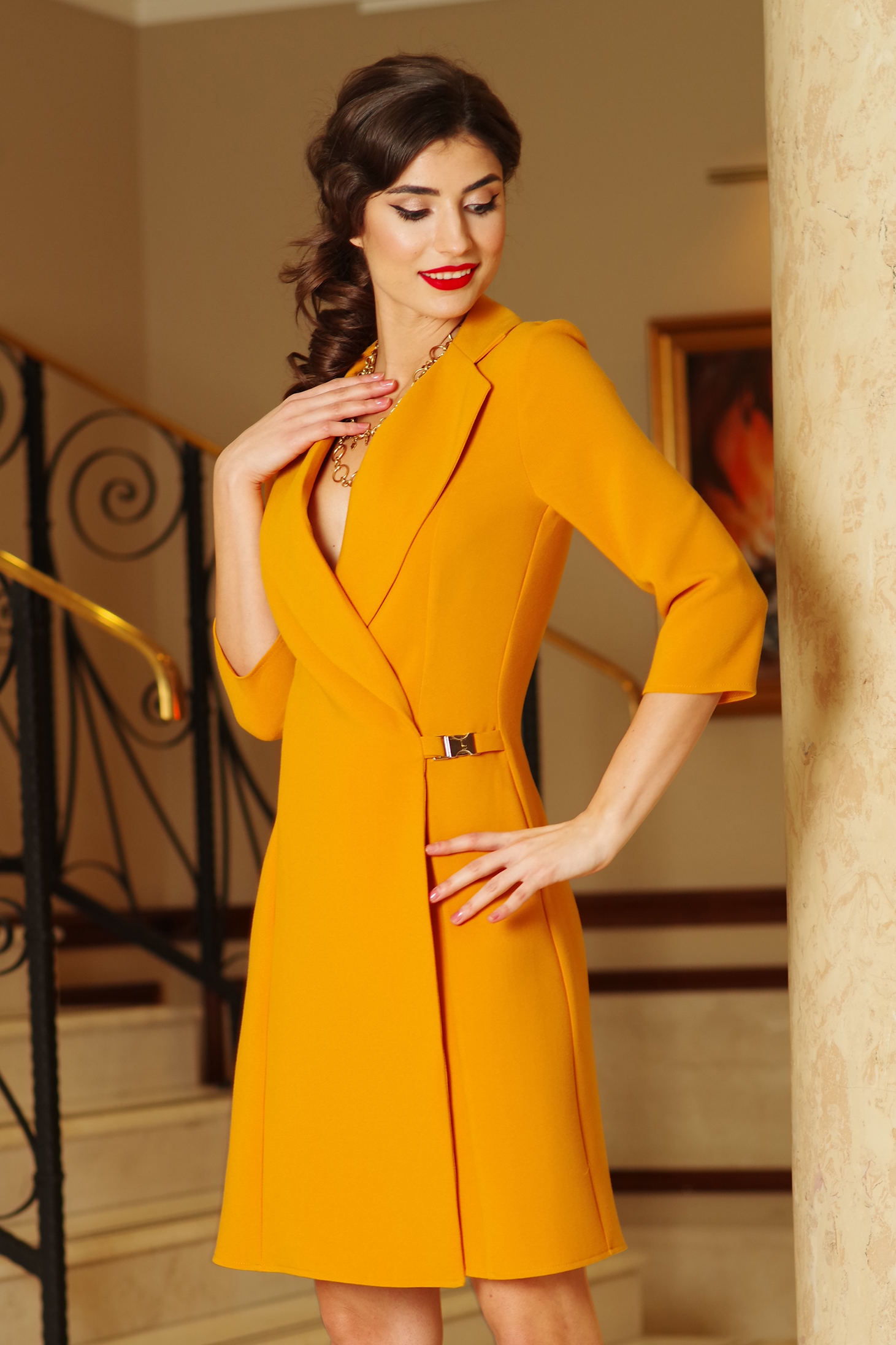 Artista mustard blazer type a-line elegant dress slightly elastic fabric with inside lining