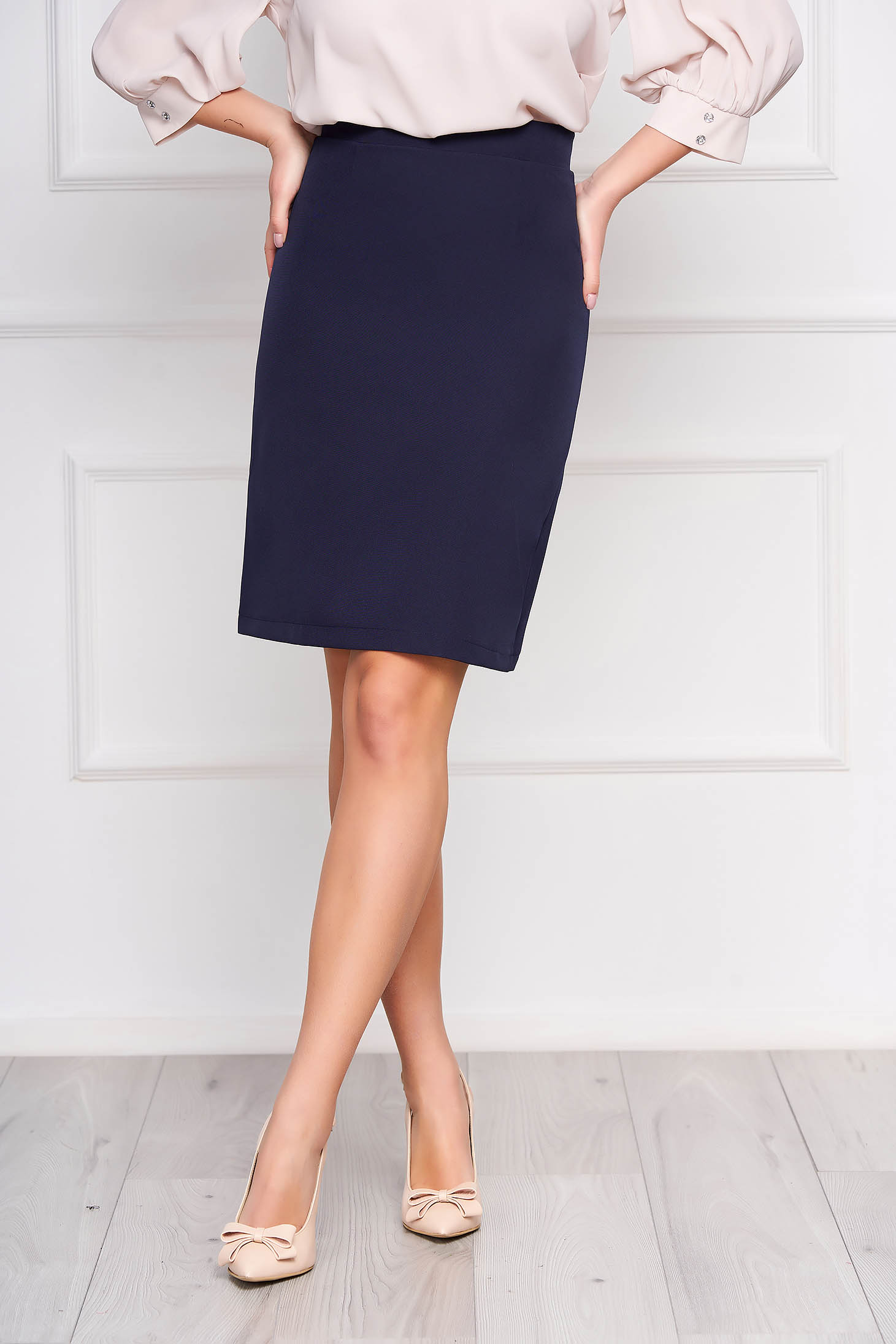 StarShinerS darkblue office skirt straight high waisted slightly elastic fabric with inside lining