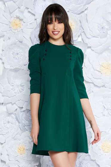 Green daily flared with 3/4 sleeves dress slightly elastic fabric with button accessories