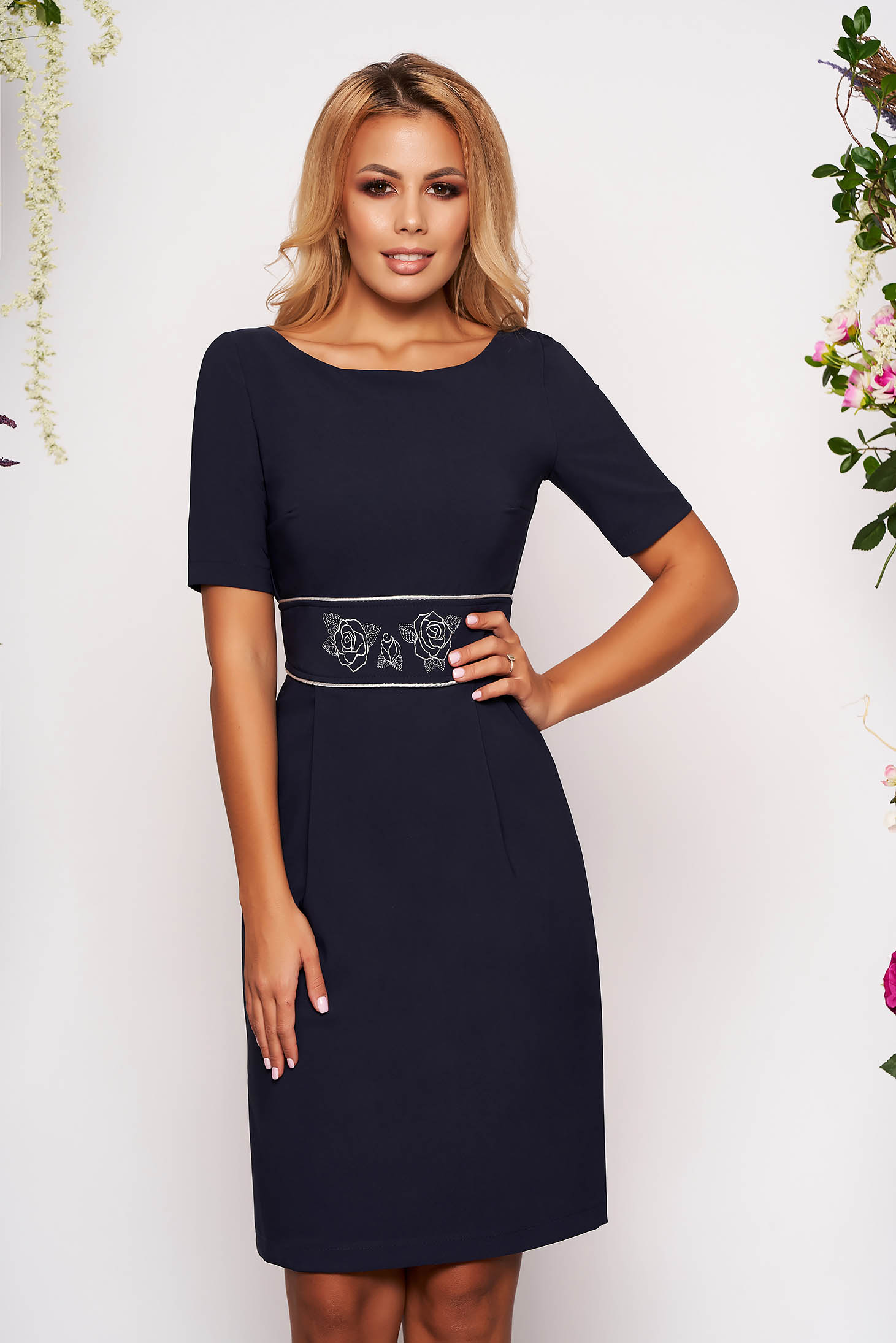 StarShinerS darkblue dress occasional short cut pencil cloth slightly elastic fabric short sleeves embroidered