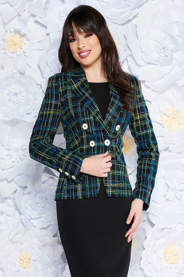 StarShinerS black jacket office arched cut cloth with chequers with inside lining with pockets