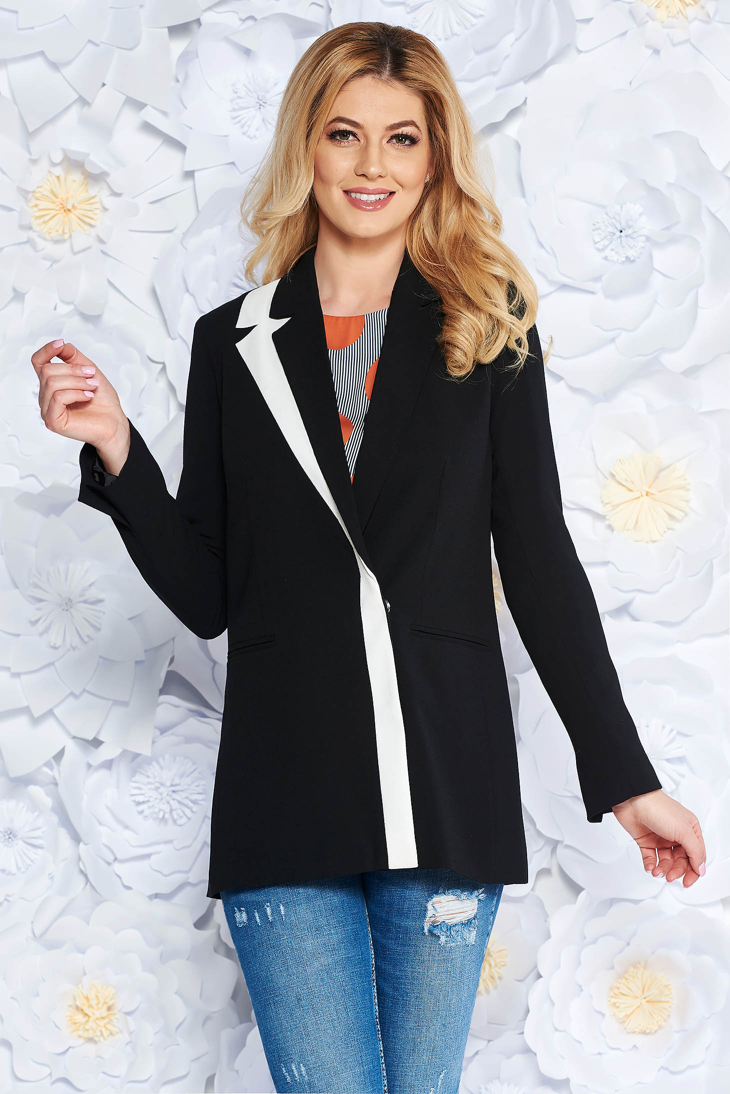 StarShinerS black jacket office arched cut slightly elastic fabric with inside lining with pockets