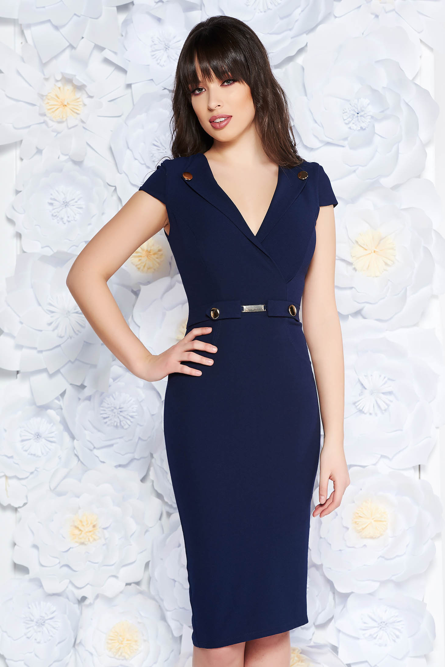 StarShinerS darkblue elegant midi pencil dress scuba with metal accessories