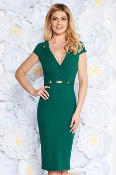 StarShinerS green elegant midi pencil dress scuba with metal accessories