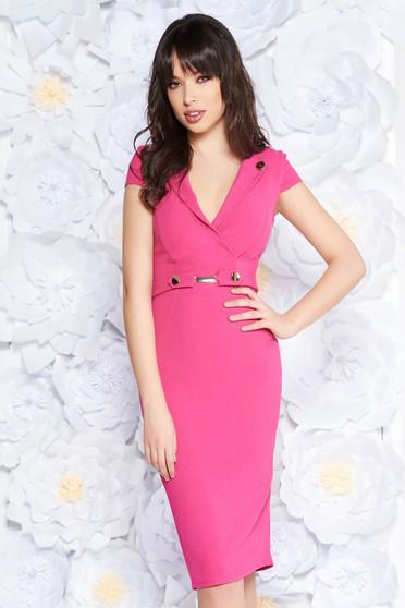 StarShinerS pink elegant midi pencil dress scuba with metal accessories