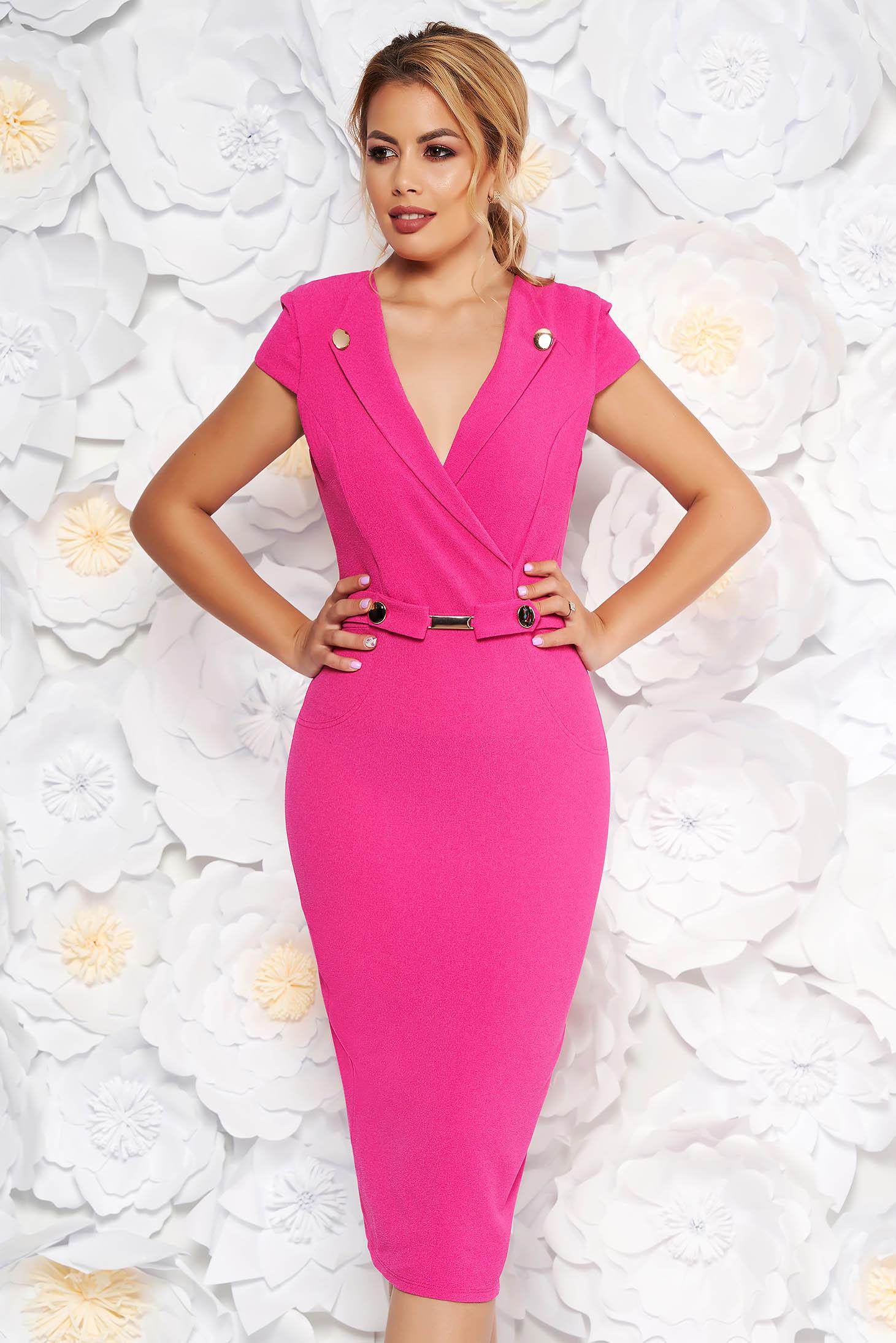 Rochie StarShinerS roz eleganta midi tip creion din scuba cu accesorii metalice