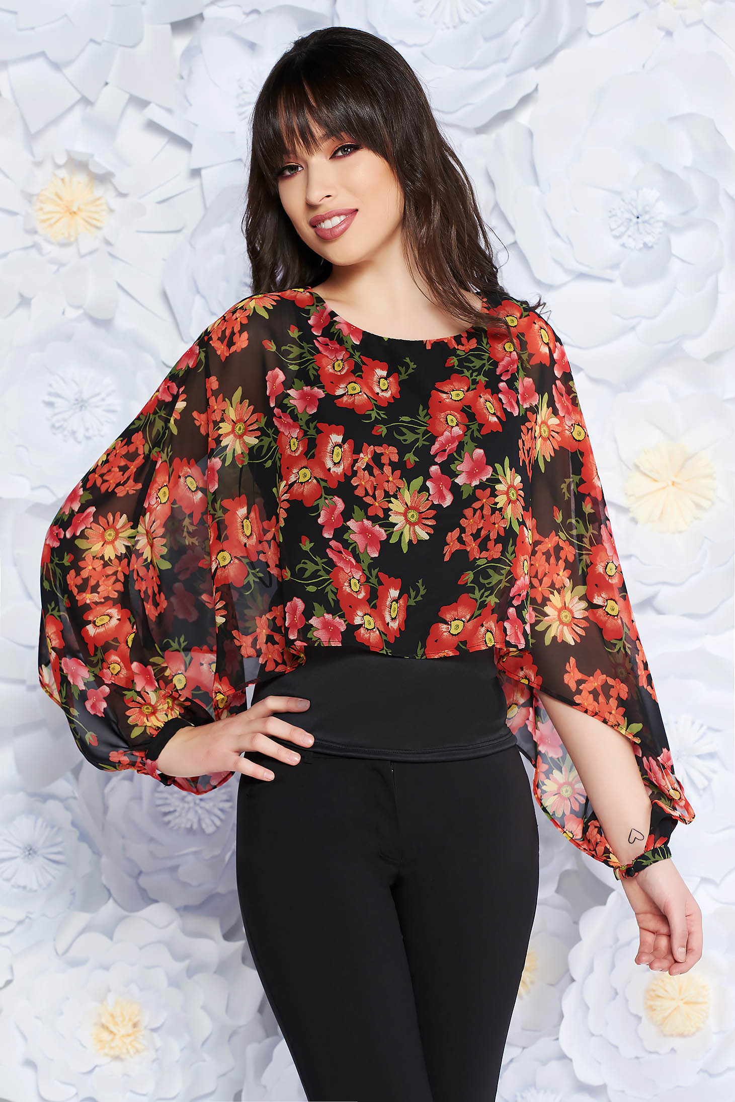 StarShinerS black women`s blouse elegant transparent chiffon fabric with inside lining with floral prints