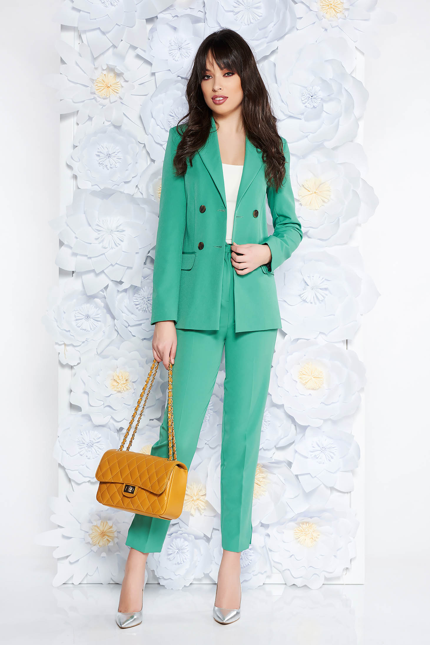 StarShinerS lightgreen office lady set with trousers from non elastic fabric with pockets