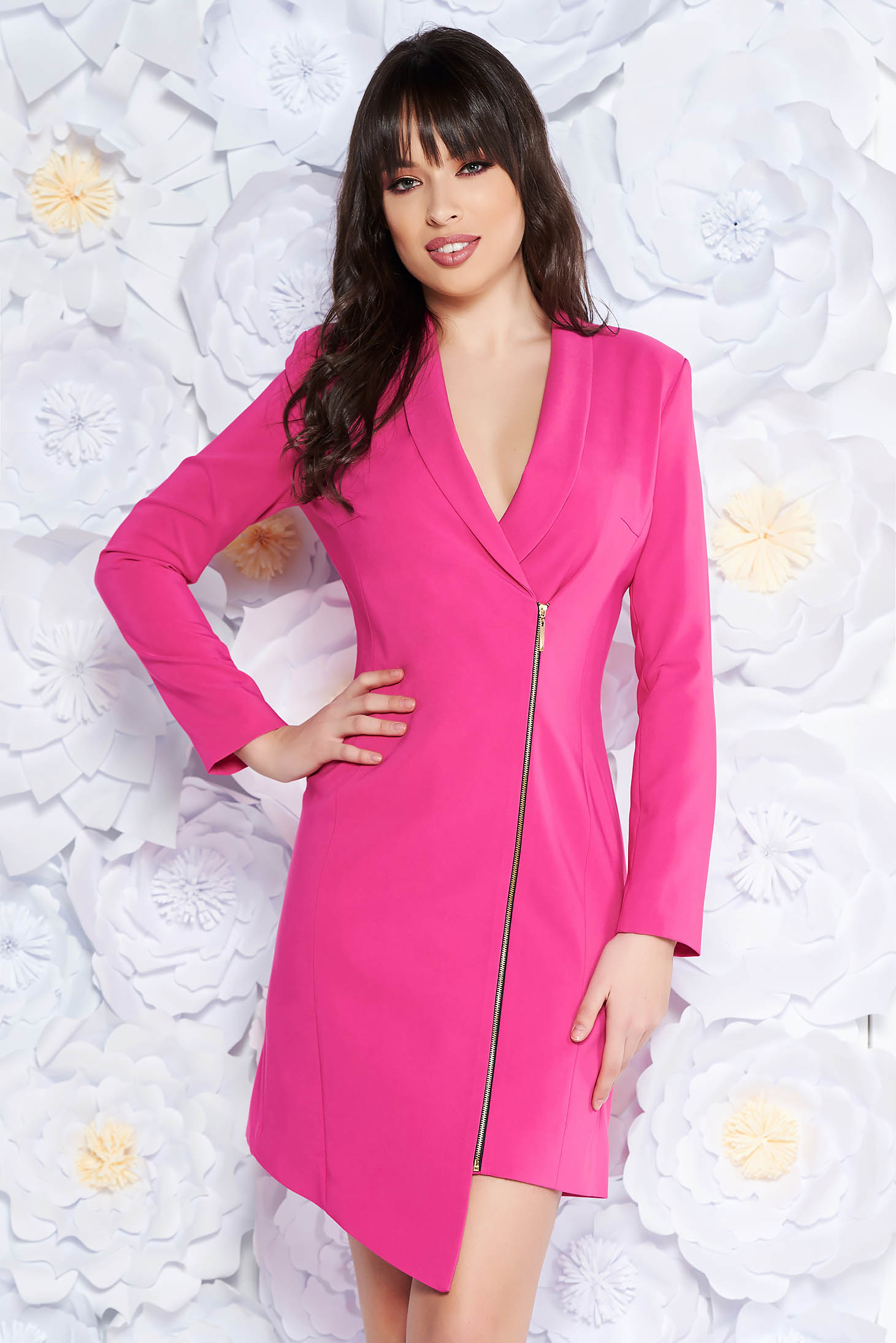 LaDonna pink elegant blazer type dress from non elastic fabric with inside lining long sleeved