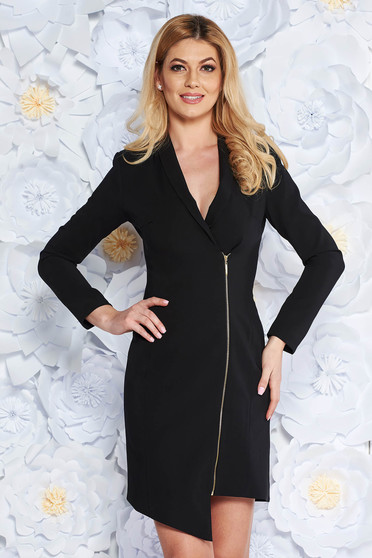 LaDonna black dress elegant blazer type from non elastic fabric with inside lining long sleeved