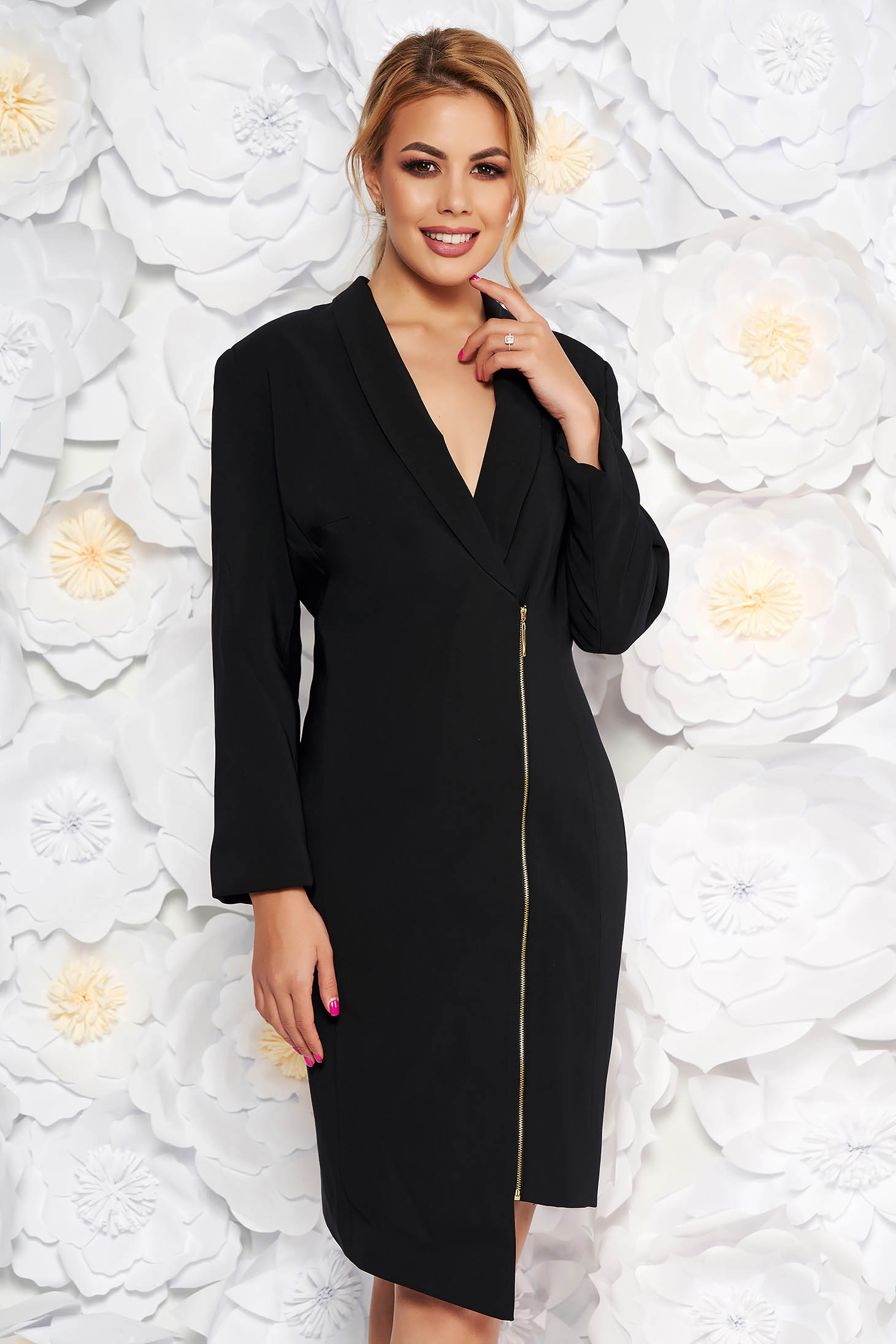 LaDonna black elegant blazer type dress from non elastic fabric with inside lining long sleeved