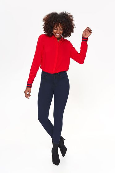 Top Secret darkblue casual trousers with medium waist with tented cut slightly elastic fabric