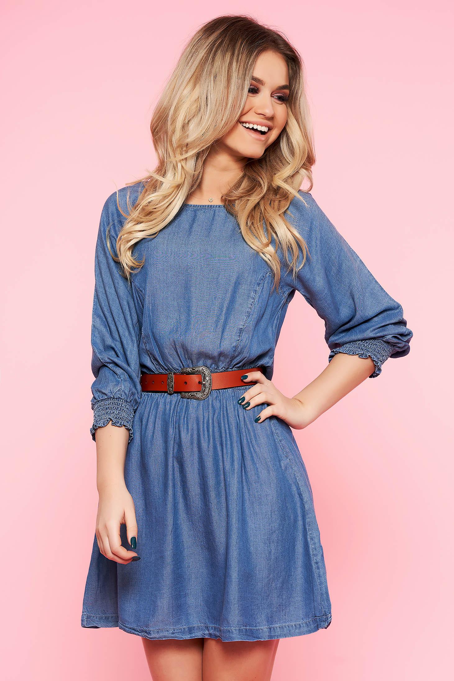 Rochie Top Secret albastra de zi in clos din denim cu elastic in talie