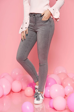 Top Secret grey jeans casual skinny jeans with medium waist slightly elastic cotton with pockets