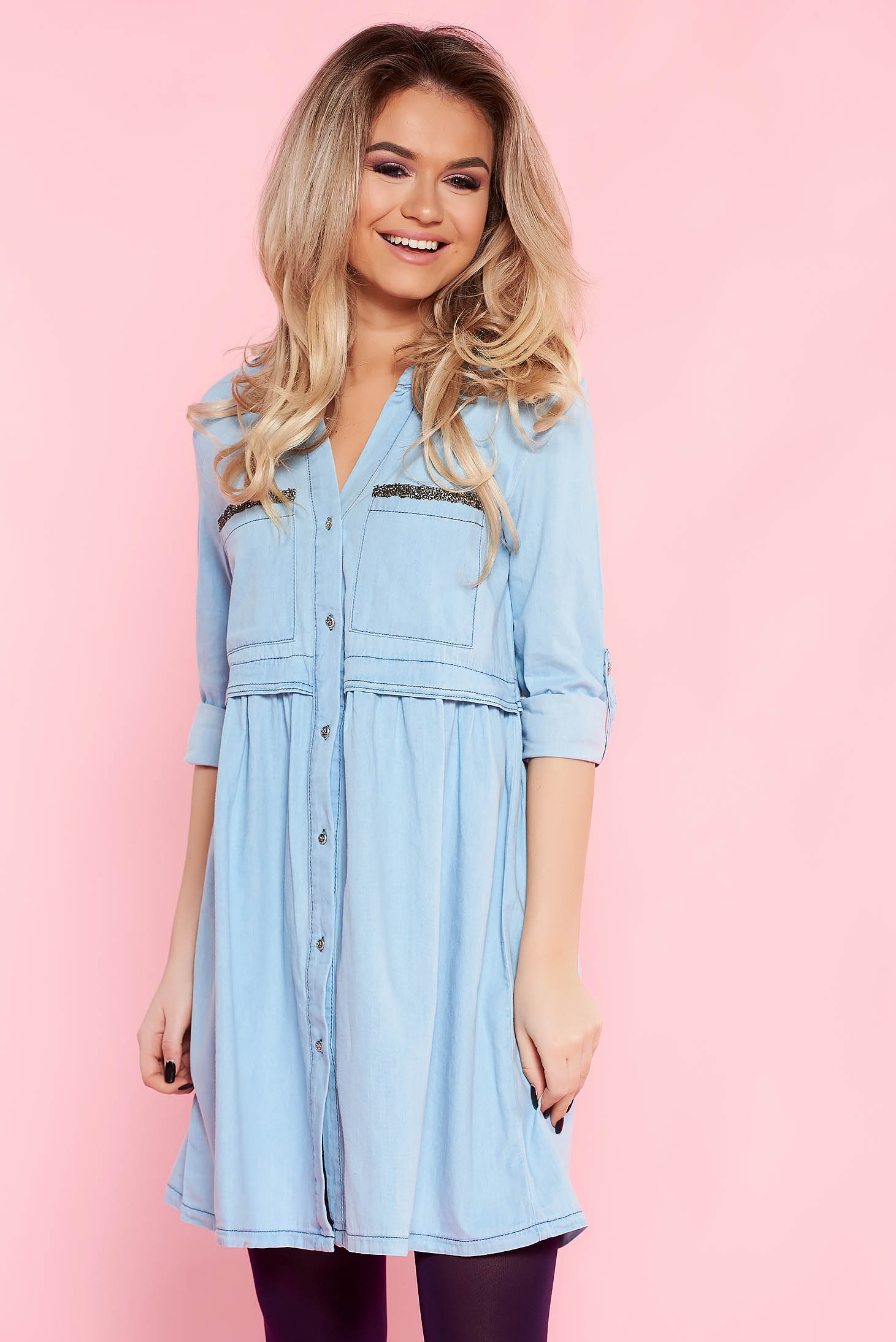 Top Secret blue daily flared cotton dress with pockets