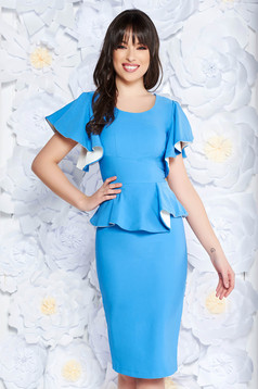 PrettyGirl lightblue elegant pencil dress frilled slightly elastic fabric with inside lining